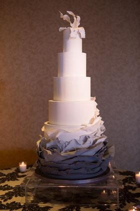 Five layer wedding cake ombre grey charcoal ruffles torn paper sugar flower topper fondant