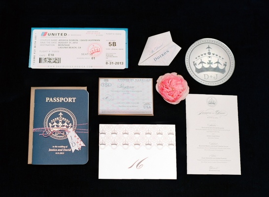 Wedding stationery that looks like passport and airline ticket