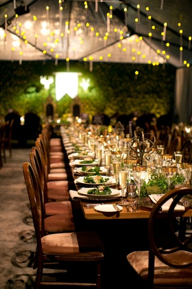 Alexis Cozombolidis and Hunter Pence wedding reception long tables velvet wood and gold details