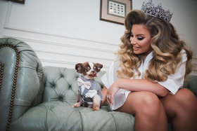 ashley alexiss bride big hair and tiara wedding ring bearer grey suit and pink tie todd