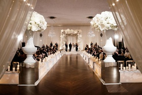 chicago ballroom wedding ceremony indoor white run white flowers chuppah candles custom boxes wood