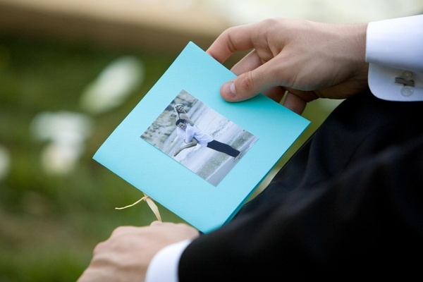 Ceremony booklet with photo of couple on front
