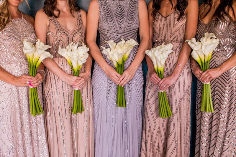 bridesmaid bouquets of calla lilies, adrianna pappell sequin bridesmaid dresses