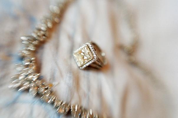 Fancy yellow diamond halo wedding engagement ring