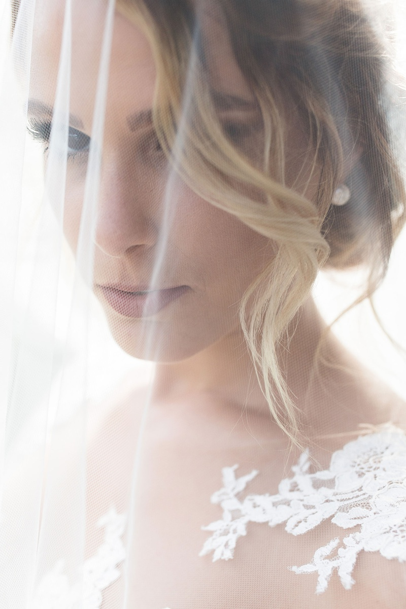 romantic photo of blush with blusher veil over her face