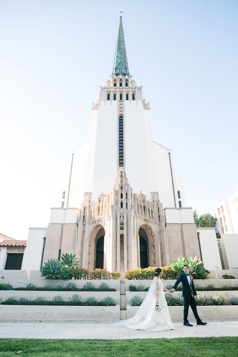 wedding ceremony church venues in los angeles westwood united methodist church bride groom in front