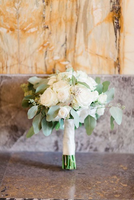 wedding bouquet ivory roses sage greenery simple germany wedding bouquet