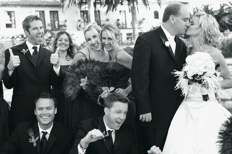 Black and white photo of groomsmen and bridesmaids