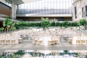 wedding reception cleveland museum of art green tropical leaves jungle mirror dance floor
