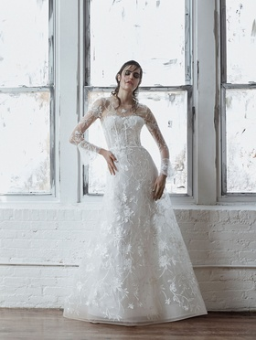 Isabelle Armstrong Fall 2018 bridal collection tulle a-line gown with bell sleeves and embroidery