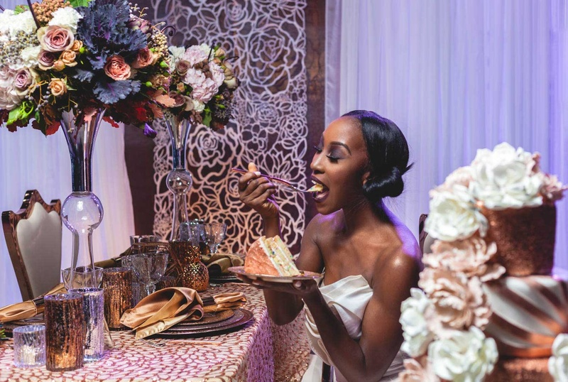 bride eating cake metallic purple tablescape fall styled shoot wedding yummy sequins sparkly