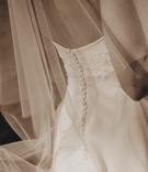 Sepia toned wedding dress and veil