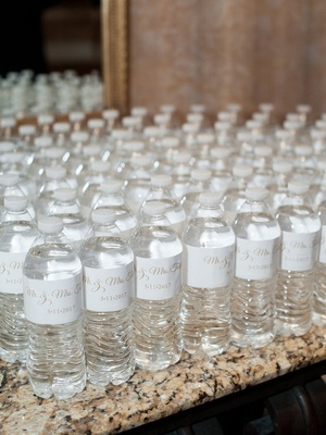 Wedding favors personalized water bottles to pass out on dance floor white gold custom label