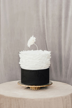 small simple wedding cake black and white ruffle flower cake topper gold stand