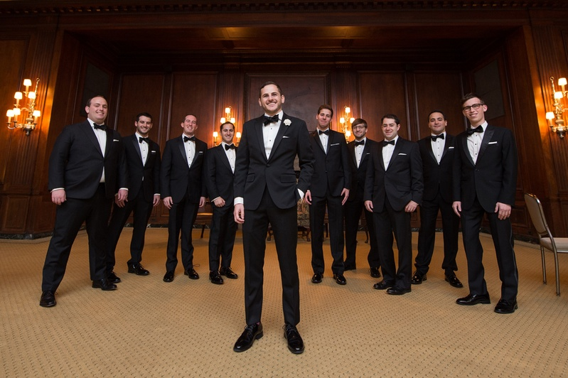 groom in bonobos tuxedo and bow tie, groomsmen
