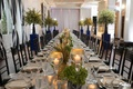 blue and white wedding, green and gold décor details