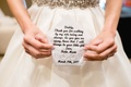 Custom embroidered handkerchief with note letter from bride to father on wedding day