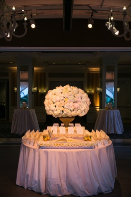 Escort card and guestbook table at wedding reception