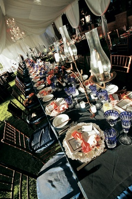 Reception table with crystal stemware