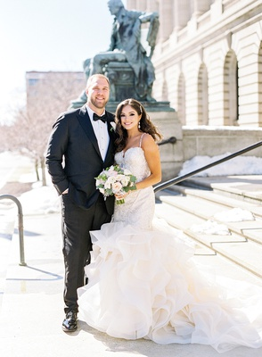 mitchell schwartz nfl player kansas city chiefs cleveland browns nfl wedding bride in mermaid dress