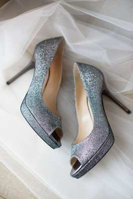 Peep toe jimmy choo heels bridal heels wedding day shoes sparkly silver sparkle metallic pumps