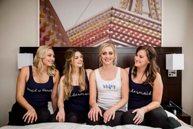 bride bridesmaids custom getting ready shirts calligraphy writing tank tops portland oregon wedding