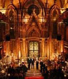 Wedding ceremony at Angel Orensanz Foundation for the Arts with golden lighting