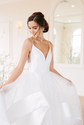 hayley paige wedding dress with plunging neckline, spaghetti straps, sheer cutout, satin trim tulle