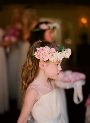 Junior bridesmaid crown of flowers