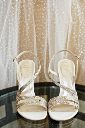 Wedding shoes Rene Caovilla gold and silver rhinestone crystals asymmetrical open toe straps