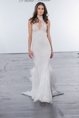 Pnina Tornai for Kleinfeld 2018 wedding dress high neck chantilly lace gown mermaid sit flare ruffle