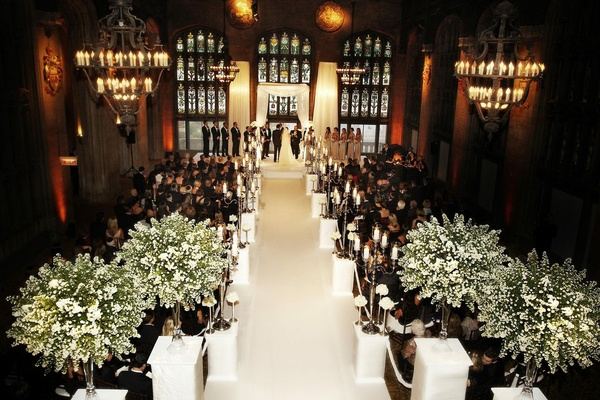 Romantic all white celebration in chicago illinois inside weddings stained glass and antique chandeliers in hall aloadofball Gallery
