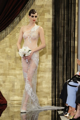 Sheer nearly naked wedding dress with one shoulder strap