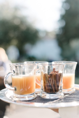 fall wedding cocktail hour inspiration, warm drink in glass mug, cinnamon sticks