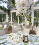 Ivory linens with light blue wedding plates and orchid centerpiece