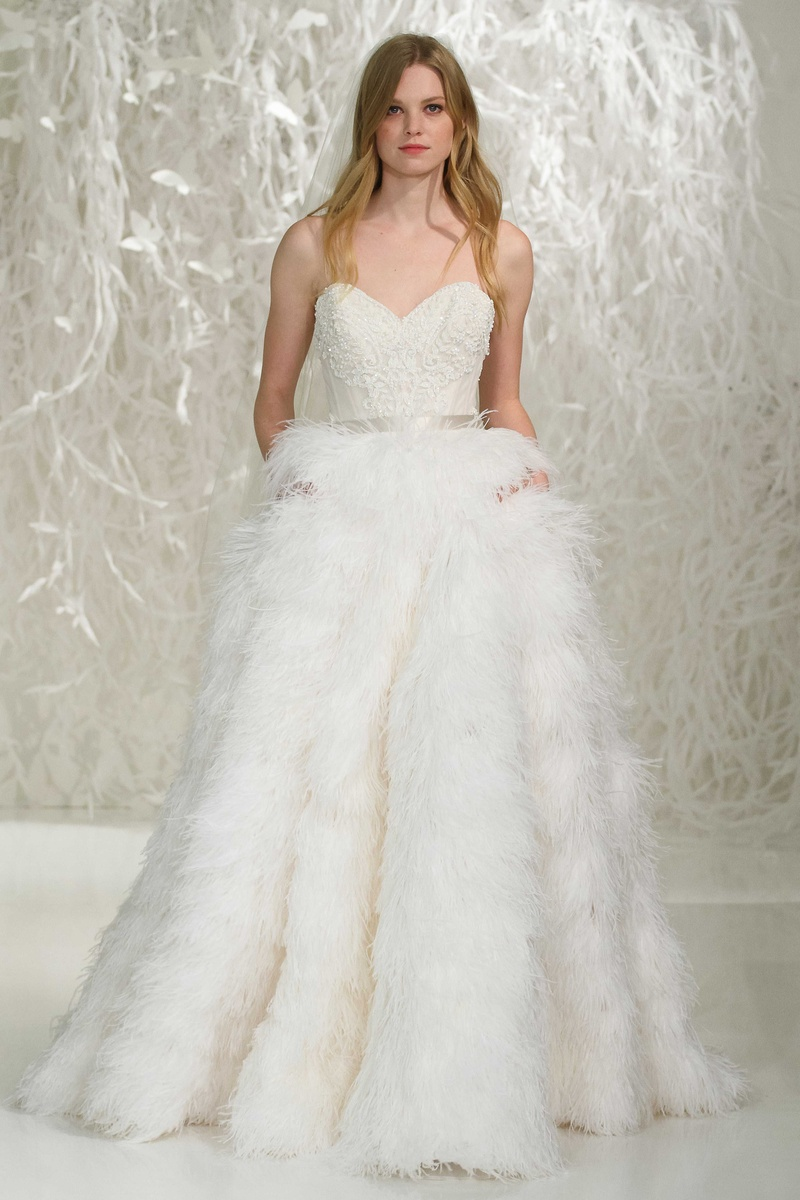 77009801937c Watters 2016 strapless wedding dress with sweetheart neckline and full  feather ball gown skirt