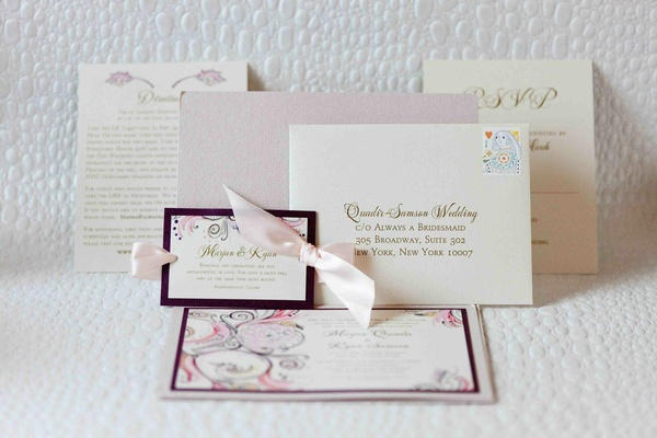 Wedding invitation with pink ribbons and vibrant print