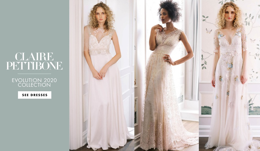 Claire Pettibone fall 2020 bridal collection evolution wedding dresses