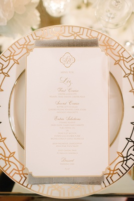 Wedding china gold white pattern with die cut menu card monogram script gold
