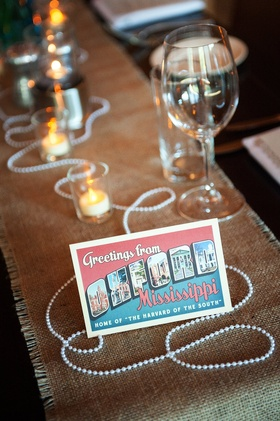 Vintage post card table name with Mississippi card