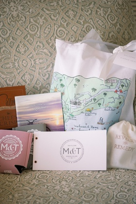 wedding welcome bag, map, personalized koozy, hangover rememedy
