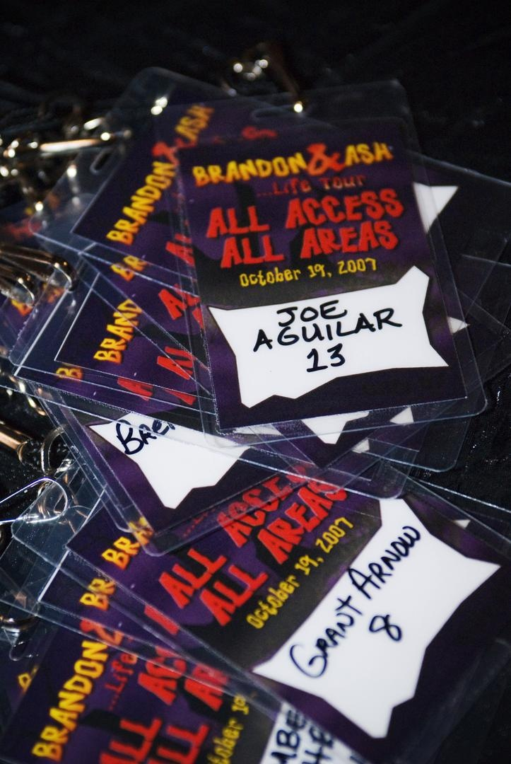 Wedding reception seating cards that resembled all-access concert passes