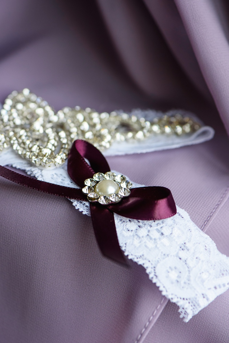 Wedding night lingerie with ribbons and crystals