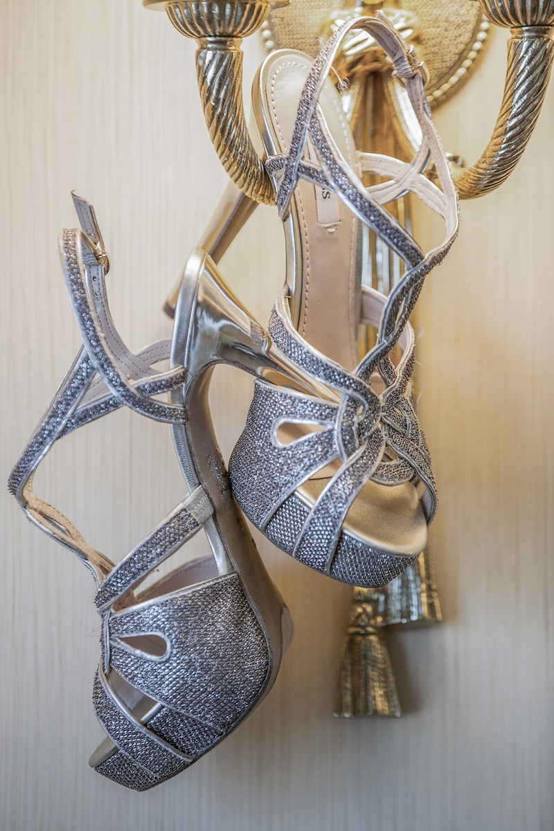 308e80c36f1c Strappy Silver Bridal Sandals. 0 Favorites  0 Repins. GUESS shoes with  textured fabric and straps
