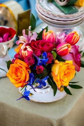 alice in wonderland wedding inspiration, orange roses, sunset tulips, blue flowers