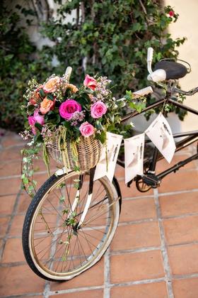 wedding decor terracotta tile old bike with banner illustration bride groom pink orange flowers