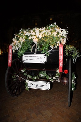 Floral-embellished horse and carriage