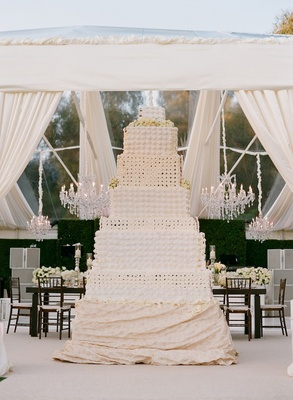 Nine foot tall wedding cake made of cupcakes
