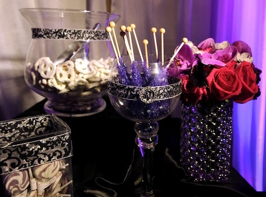 Purple rock candy and damask vessels