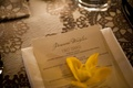 Personalized wedding menu card with yellow flower on top reception ideas
